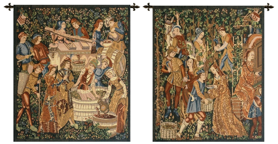 Vendanges Left And Right Sides Rust Belgian Wall Tapestries