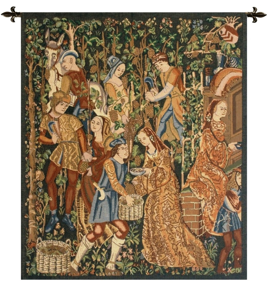 Vendanges Right Side Rust Belgian Wall Tapestry
