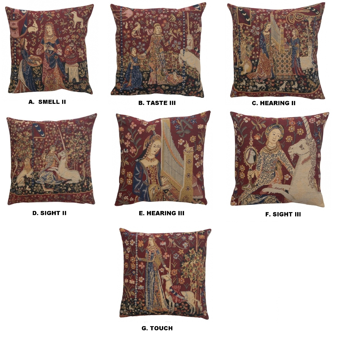 Unicorn Belgian Medieval Unicorn Tapestry Pillow Cushion Cover NEW